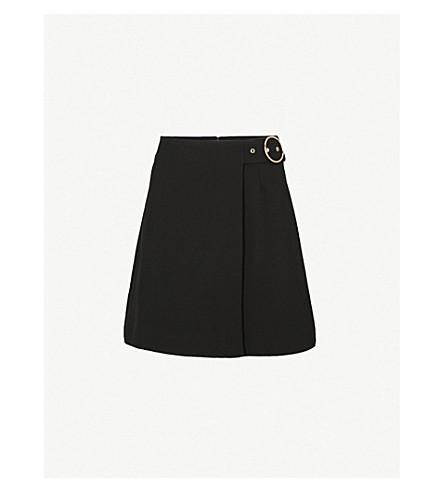 WHISTLES Arpi crepe wrap mini skirt (Black