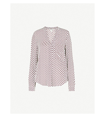 WHISTLES Striped crepe shirt (Multi-coloured