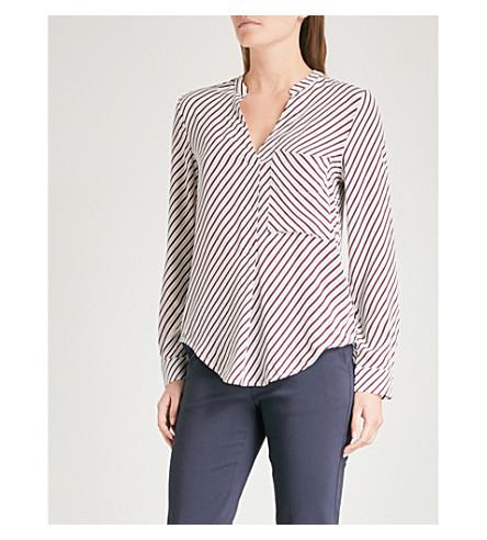 WHISTLES Striped crepe shirt (Multi-coloured