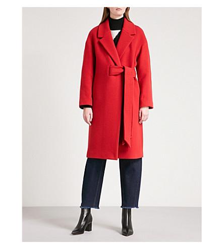 WHISTLES Magdelina belted wool-blend coat (Red