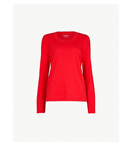 WHISTLES Rosa double trim cotton top (Red