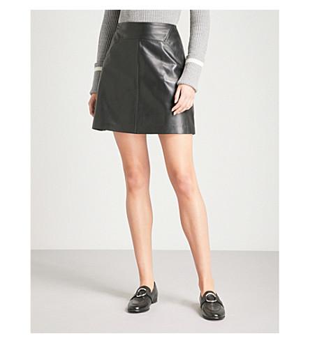 WHISTLES A-line leather mini skirt (Black