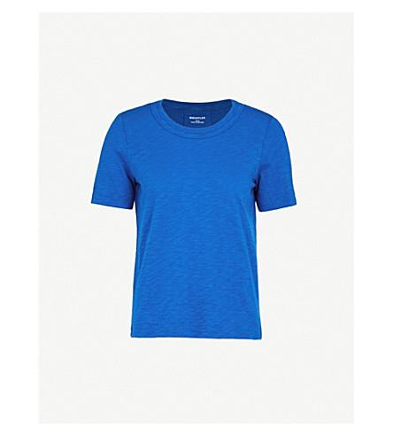WHISTLES Rosa double-trim cotton T-shirt (Blue