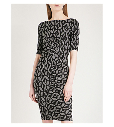 WHISTLES Maria geo-print stretch-jersey dress (Black