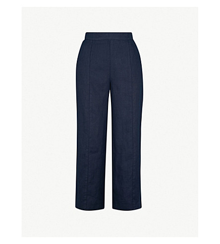 WHISTLES Wide-leg cropped high-rise linen trousers (Navy