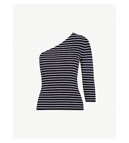 WHISTLES One-shoulder striped knitted top (Multi-coloured