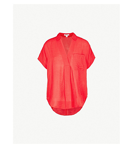 WHISTLES Lea crepe shirt (Red