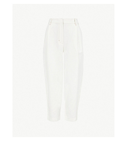WHISTLES Toria wide-leg tapered linen and cotton-blend trousers (Cream