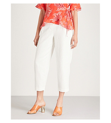 tapered WHISTLES and blend leg Toria cotton trousers Cream linen wide qPwPfrt