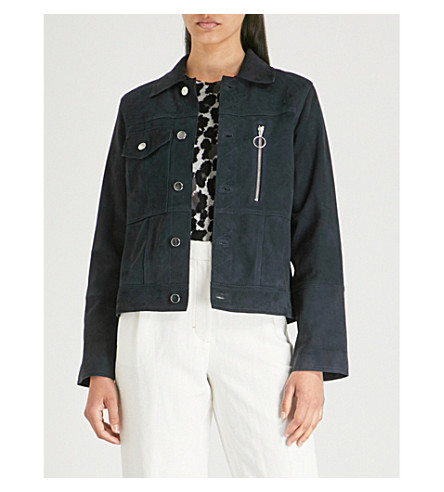 WHISTLES Patch pocket suede jacket (Navy
