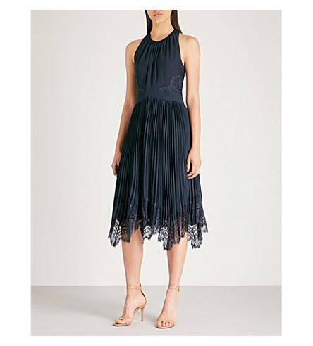 WHISTLES Lana pleated lace-trimmed velvet midi dress (Navy