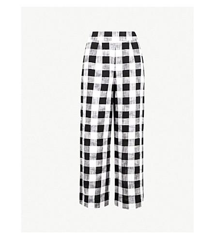 WHISTLES 格子常规版型高腰亚麻裤子 (单色