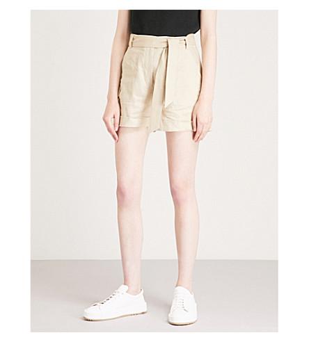 WHISTLES Self-tie high-rise linen shorts (Cream