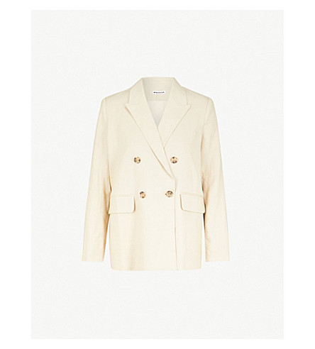 WHISTLES Double-breasted linen jacket (Cream