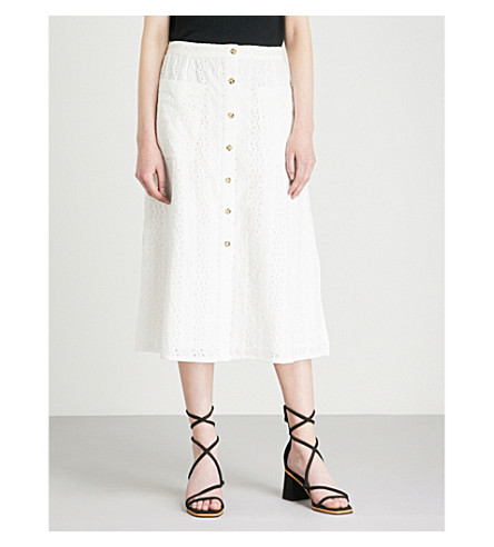 WHISTLES Buttoned broderie anglaise skirt (White
