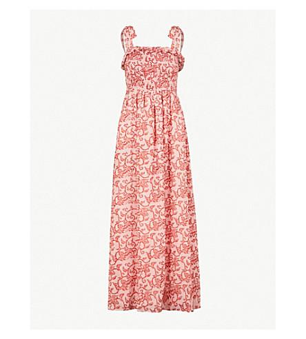 WHISTLES Antique floral-print woven maxi dress (Multi-coloured