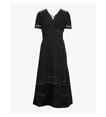 WHISTLES Elisa 编织迷笛连衣裙 (黑色