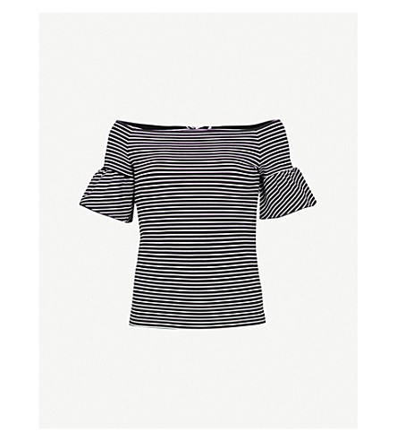 WHISTLES Off-the-shoulder striped cotton top (Multi-coloured