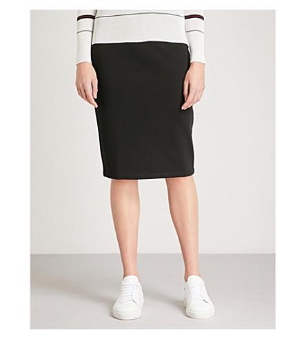 WHISTLES High-rise cotton-blend jersey pencil skirt (Black
