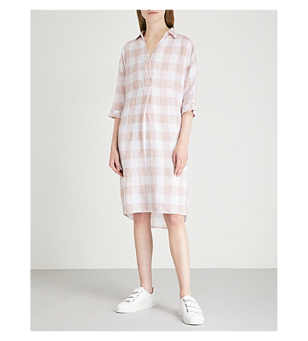 WHISTLES Lola linen gingham dress (Multi-coloured