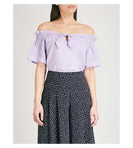 WHISTLES Off-the-shoulder bow-detail linen top (Lilac