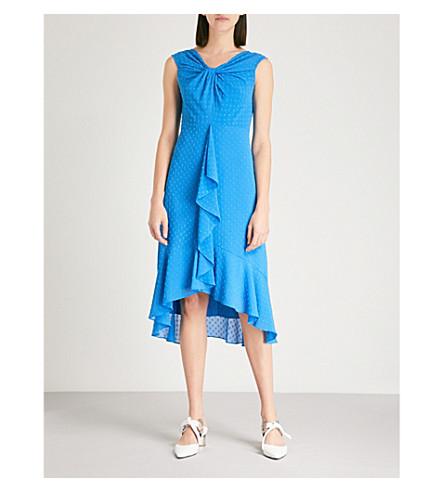 WHISTLES Eriko off-the-shoulder crepe midi dress (Blue