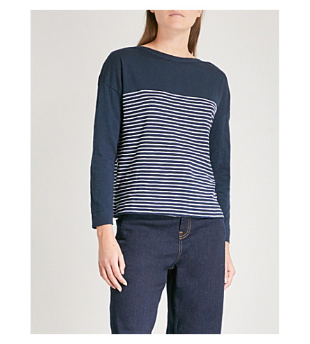 WHISTLES Breton-stripe cotton top (Navy