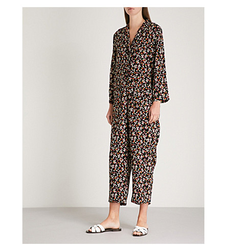 WHISTLES Peony-print woven jumpsuit (Black