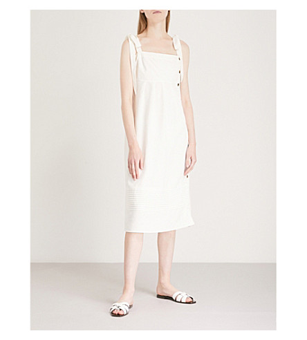 WHISTLES Buttoned linen mid dress (White