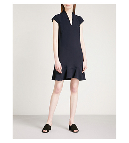 WHISTLES Federica frilled-collar crepe dress (Navy