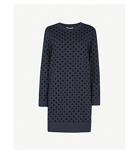 WHISTLES Flocked polka-dot cotton-jersey sweater dress (Black