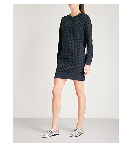 WHISTLES Flocked polka-dot cotton-jersey sweater dress (Black