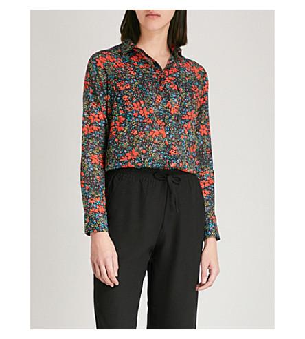 WHISTLES Lottie floral-print cotton-voile shirt (Multi-coloured