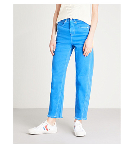 WHISTLES Contrast-stitch high-rise barrel-leg jeans