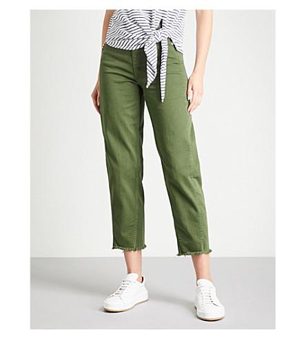 WHISTLES High-waisted stretch-denim jeans (Khaki/olive