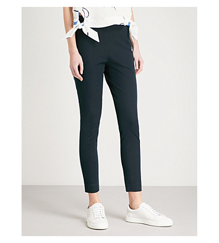 WHISTLES Super Stretch high-rise skinny cotton-blend trousers (Navy
