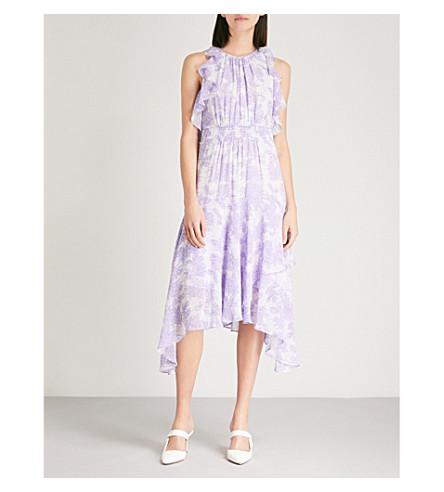 WHISTLES Anne Batik floral-print ruffled chiffon midi dress (Lilac