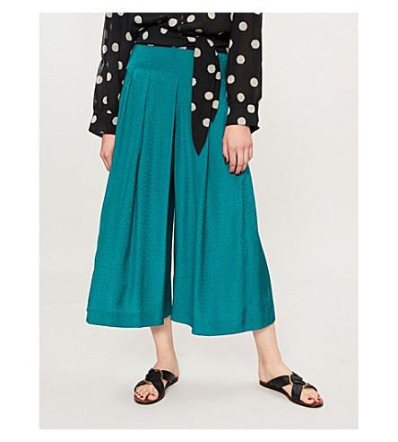 WHISTLES Polka dot-jacquard trousers (Green