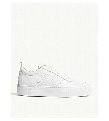 WHISTLES Anna embossed leather trainers (White