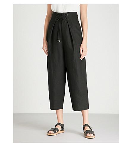 WHISTLES Emiko lace-up waist crepe trousers (Black