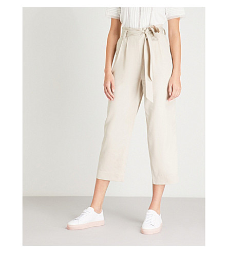 WHISTLES Paper bag cropped woven trousers (Cream