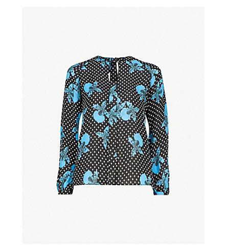 WHISTLES Kira cutout-back floral-print silk top (Multi-coloured