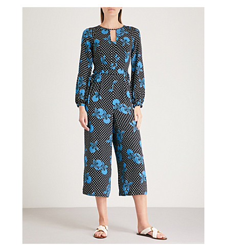 WHISTLES Kira cut-out back floral-print jumpsuit (Multi-coloured