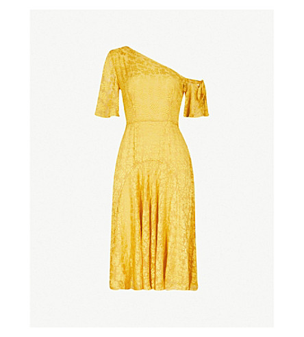 WHISTLES Anna one-shoulder devoré dress (Yellow