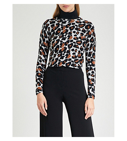 WHISTLES Leopard-print cotton jumper (Multi-coloured