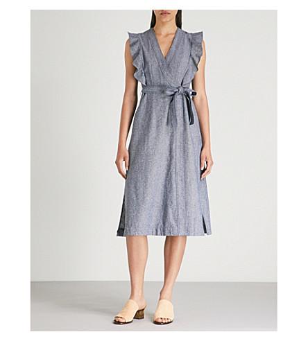 WHISTLES 皱纹修剪棉混纺包装连衣裙 (蓝色