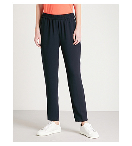 WHISTLES Elyse side-stripe high-rise crepe trousers (Navy