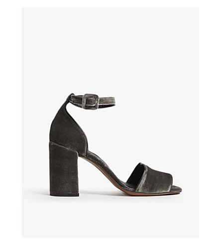 WHISTLES 海德·莱特斯天鹅绒块凉鞋 (灰色