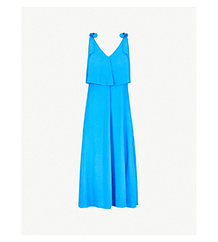WHISTLES Romina 领带细节绉礼服 (蓝色