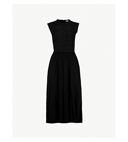 WHISTLES Seaton broderie anglaise and jersey dress (Black